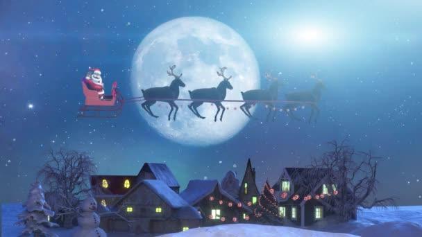 Mikulás egy rénszarvas szán Repül a háttér a Hold, Gyönyörű karácsony 3d render Animáció