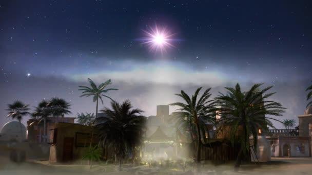 Narození Ježíše - scéna se svatou rodinou s kometou, 3d vykreslení