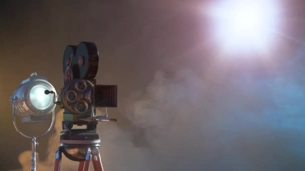 video camera silhouette in the dark banner with blue light, movie or television background render 3d