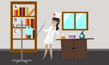 Doctor in white hospital gown in workplace with office medical equipment, objects. Vector flat illustration
