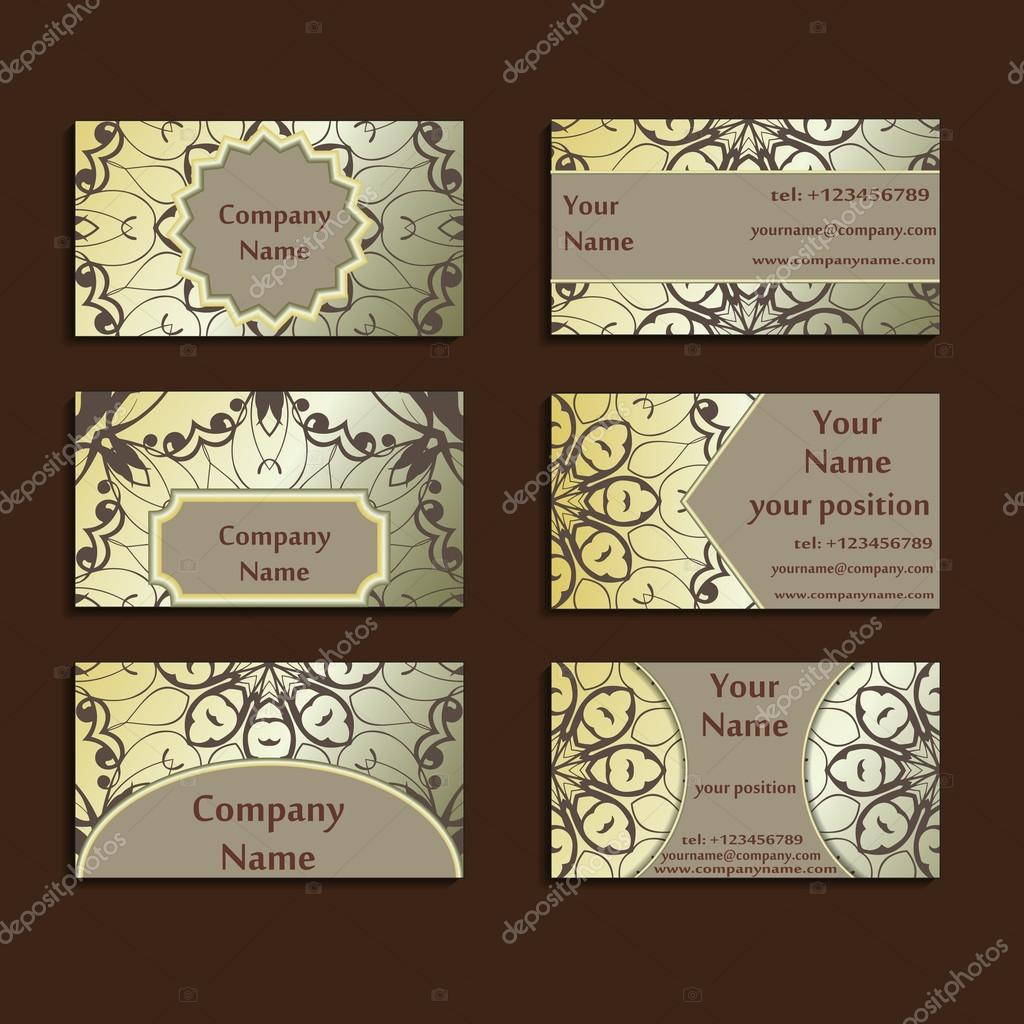 Set of three gilded visiting cards made in oriental style. Vintage ...