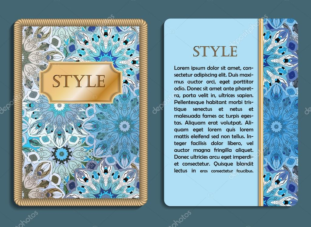 congratulatory card and invitation card with mandala design in vintage oriental style flyer with abstract eastern design front page and back page