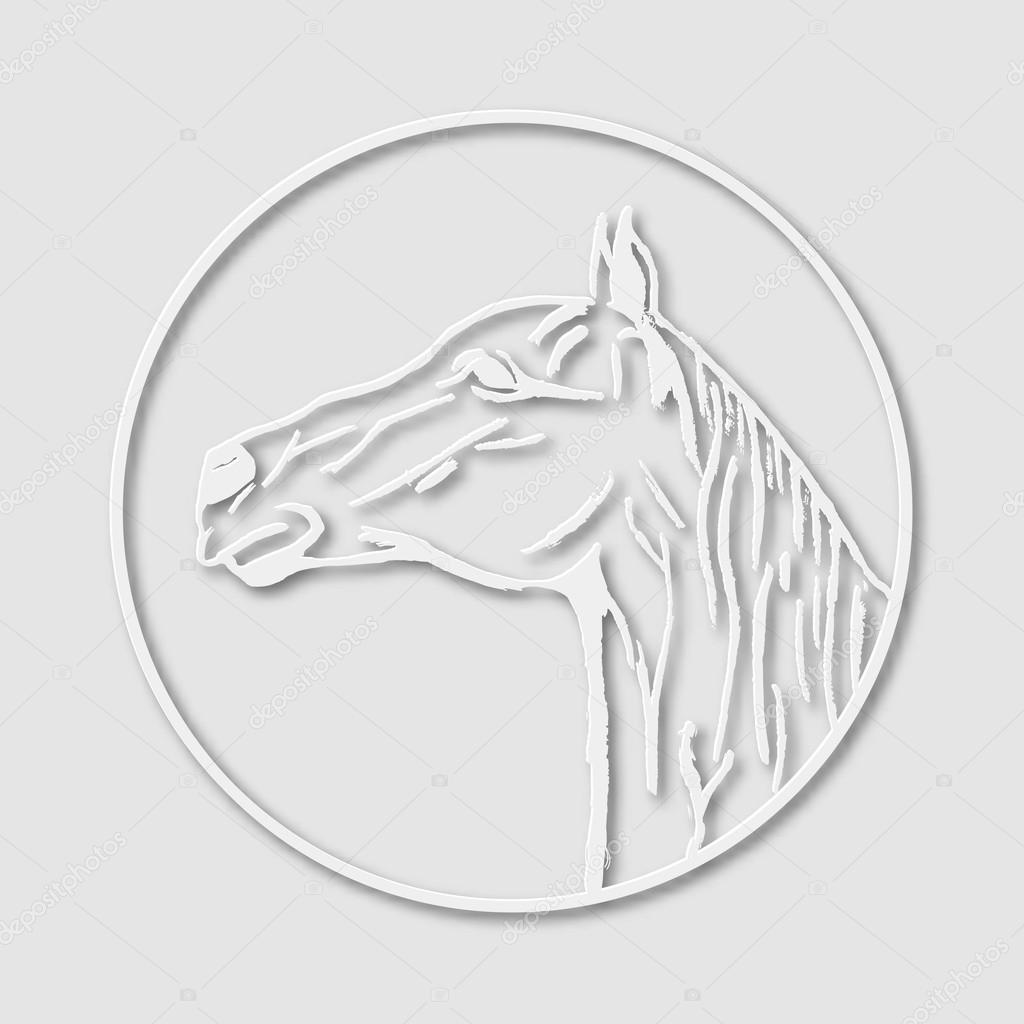 papierartigen logo emblem vorlage maskottchen symbol der pferdekopf