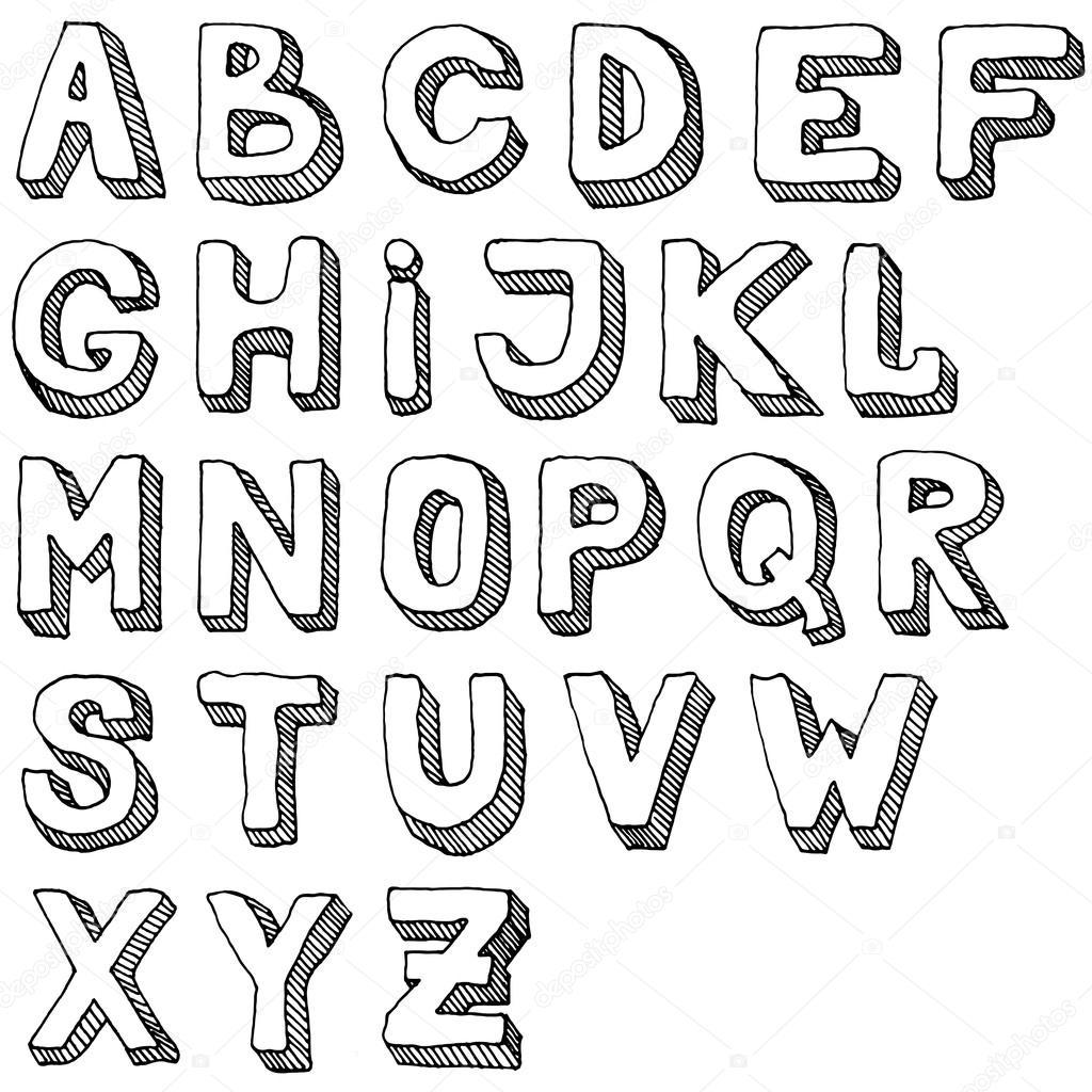 手描き abc 文字のセットです。無料手のアルファベットのイラストです。3