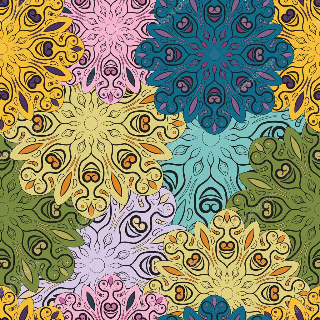 Colorful vector seamless pattern with flowery mandalas print made in oriental style. Design for wrapper, decoration, carpet or textile.
