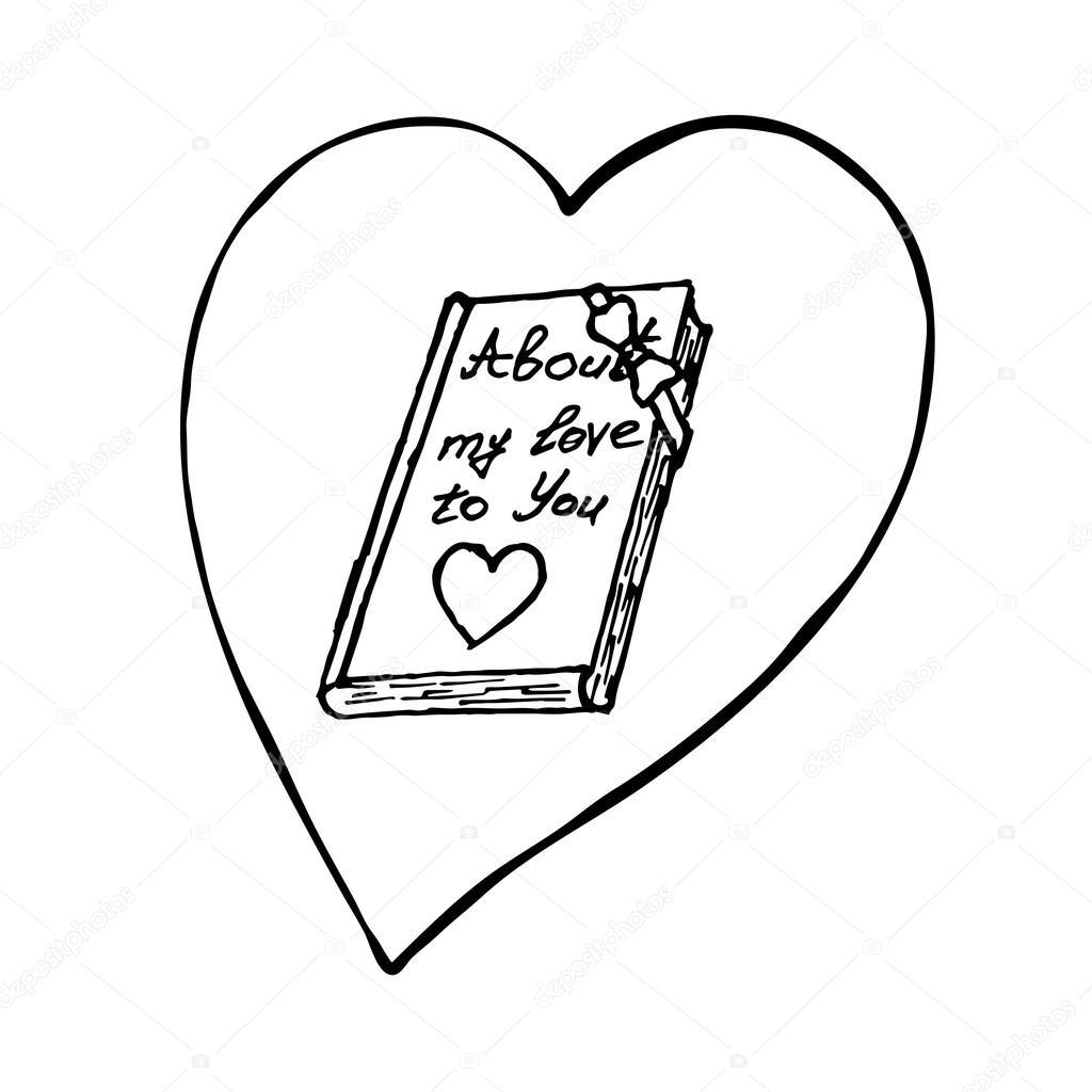 a6dc030b045c02 Livro com coração. Elemento de desenho de vetor de esboço para dia ...