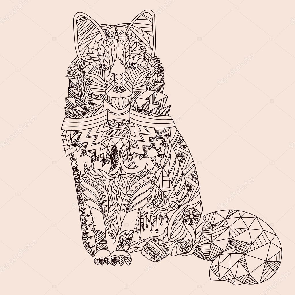 Patterned fox zentangle style