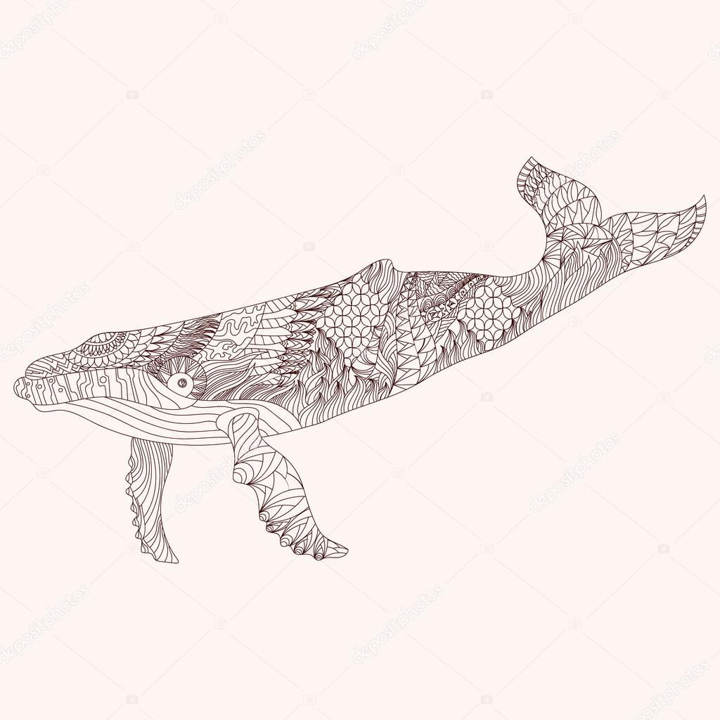 Patterned whale zentangle style