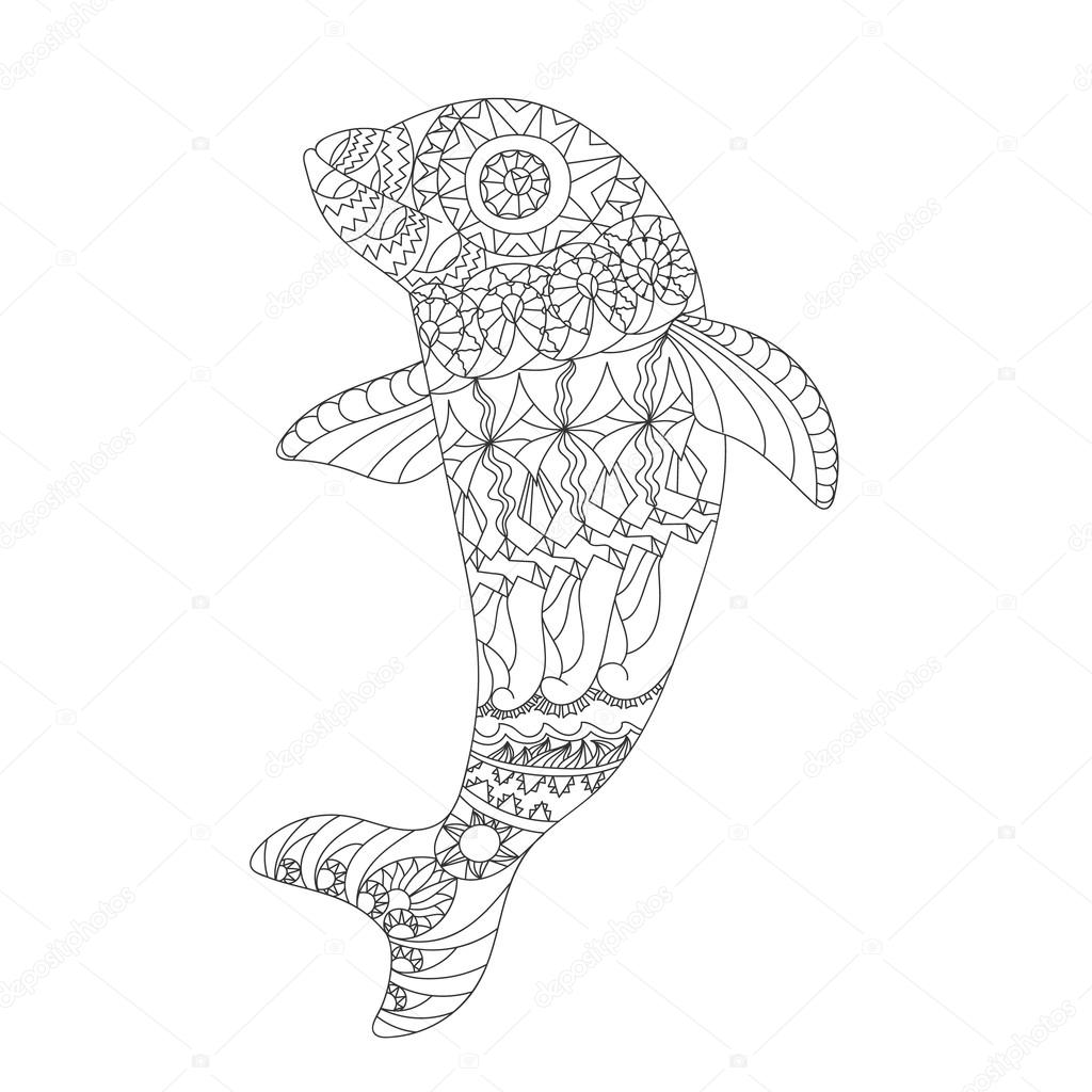 Patterned dolphin zentangle style