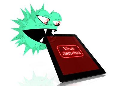 Malicious virus eats a tablet