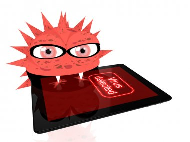 Malicious red virus eats a digital tablet