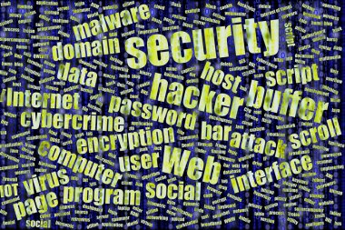 Grunge wordcloud about information securit