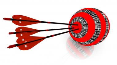 Three arrows hitting the center of a digital sphere