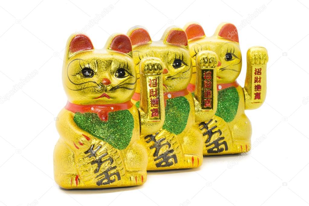 Wiersz O Maneki Neko Szczęście Azjatycki Kot Macha Się