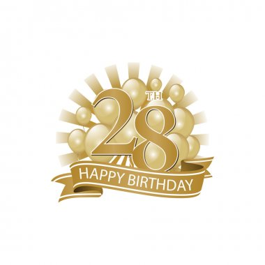 28th golden happy birthday logo with balloons and burst of light