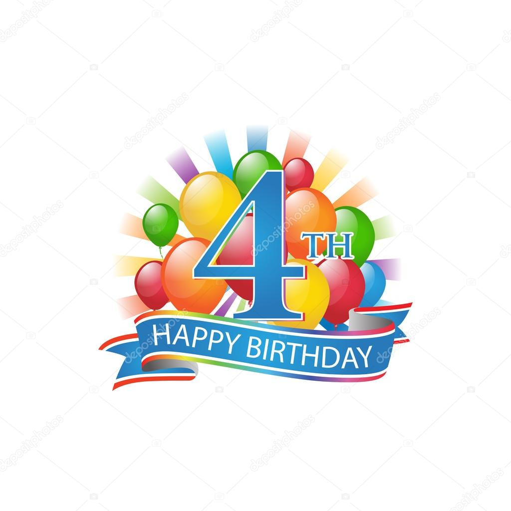4th colorful happy birthday logo with balloons and burst of light– stock illustration