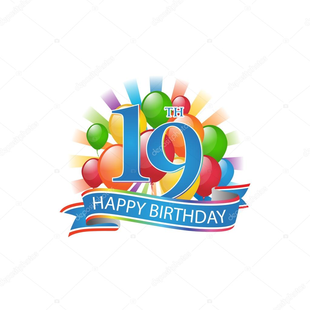 19th Colorful Happy Birthday Logo With Balloons And Burst Of Light Stock Vector