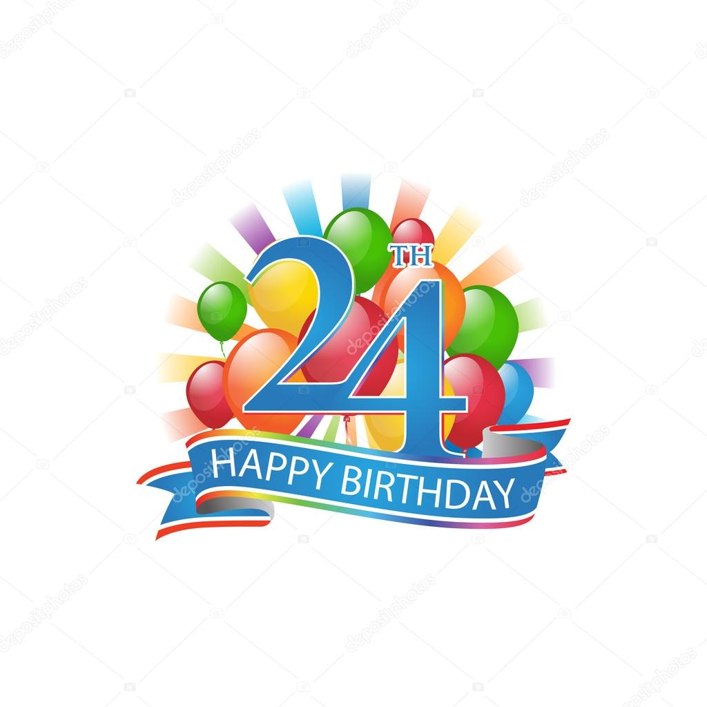 24th Colorful Happy Birthday Logo With Balloons And Burst Of Light Stock Illustration