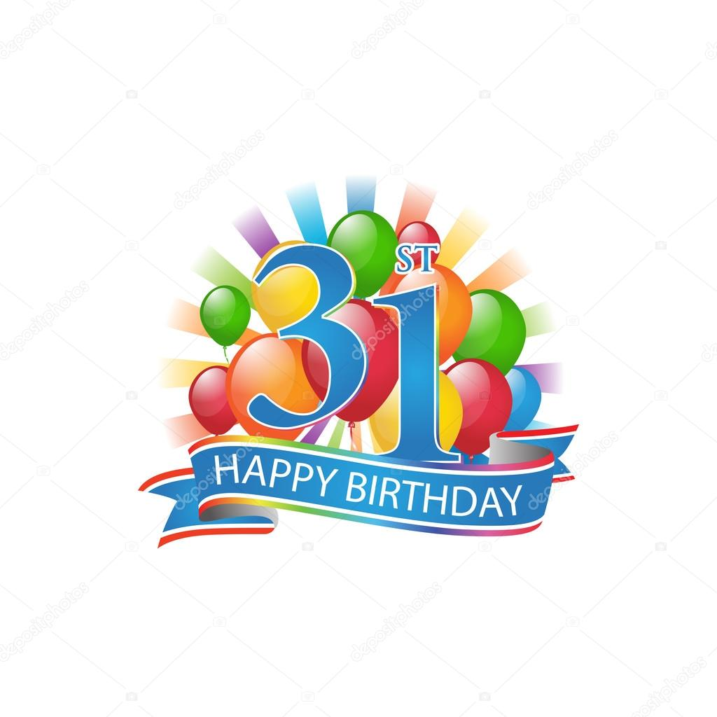 31st colorful happy birthday logo with balloons and burst of light — Stock Vector