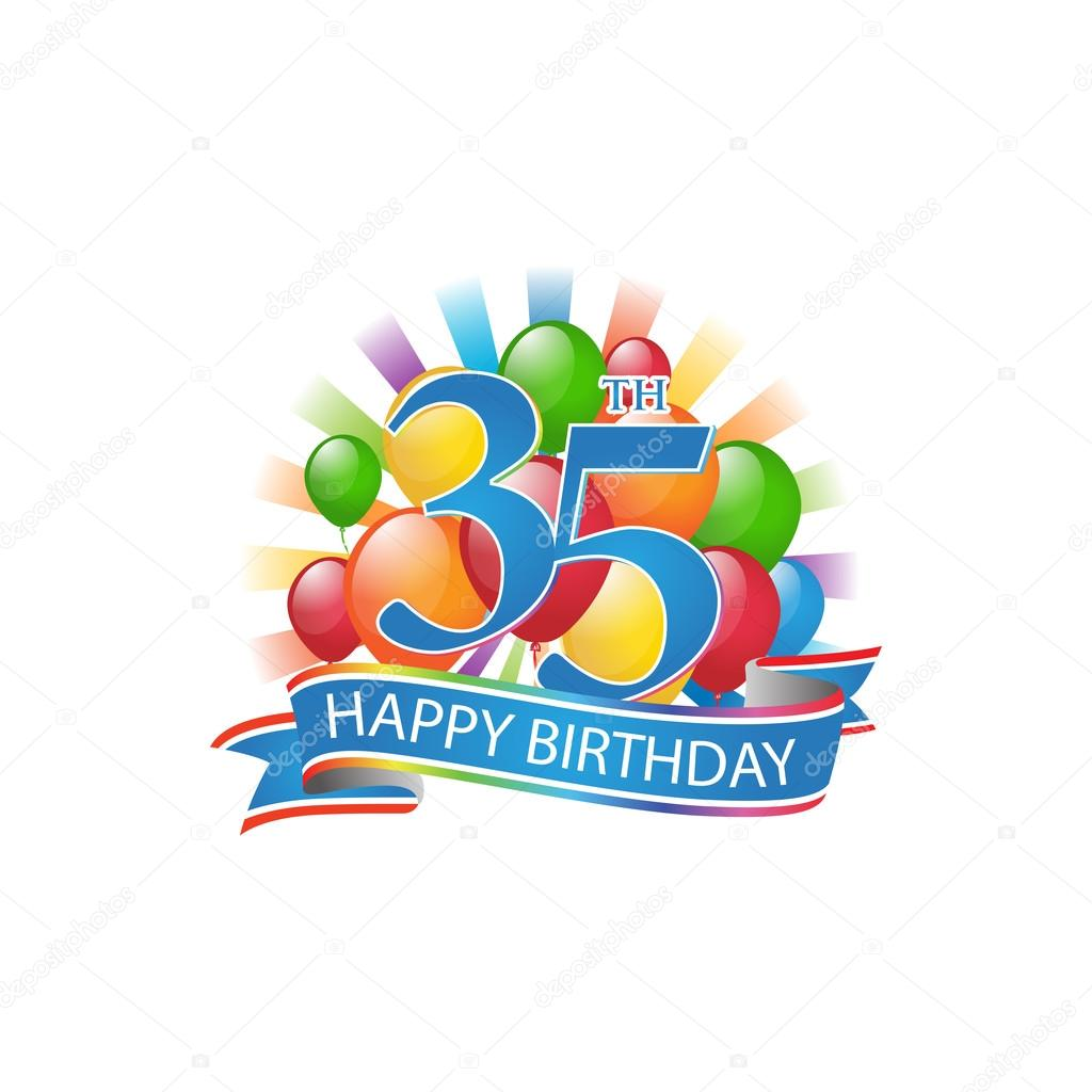 35th Colorful Happy Birthday Logo With Balloons And Burst Of Light Stock Illustration