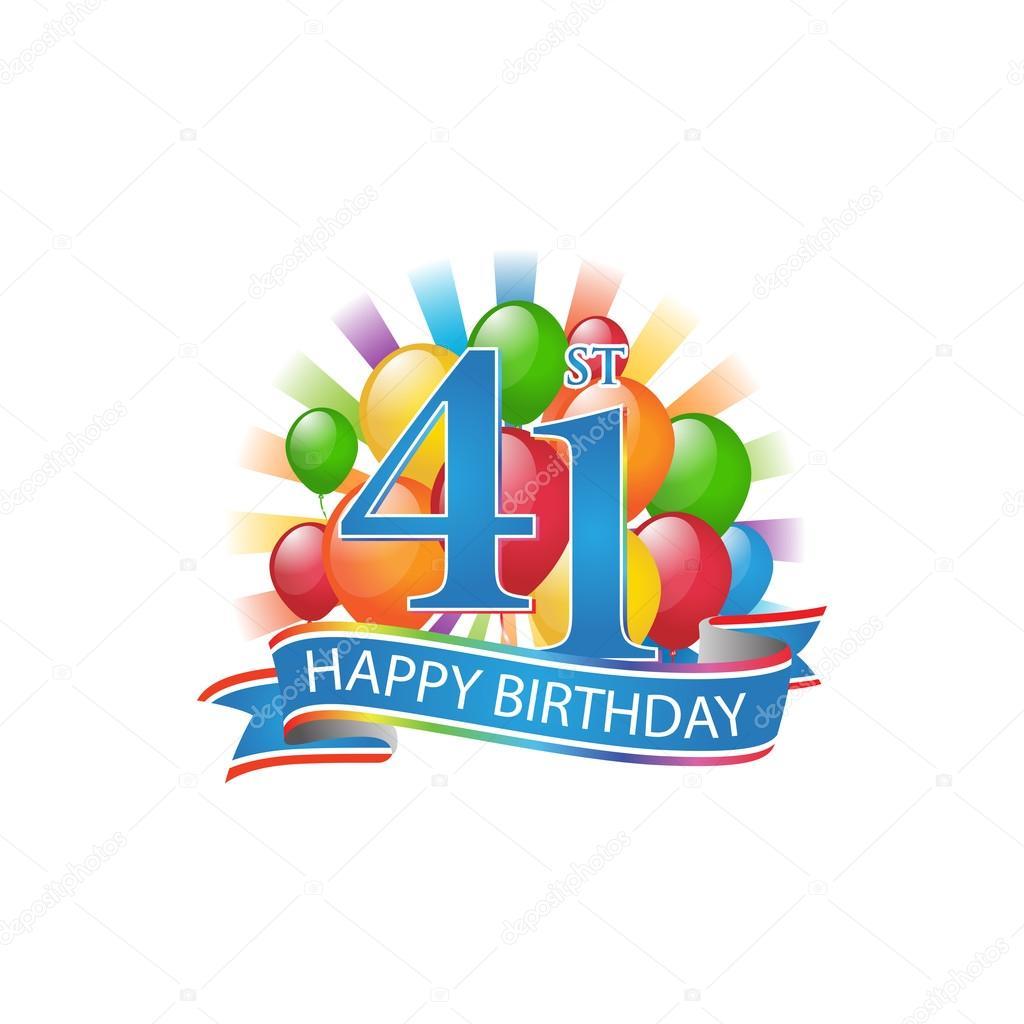 41a Logo Variopinta Di Buon Compleanno Con Palloncini Ed