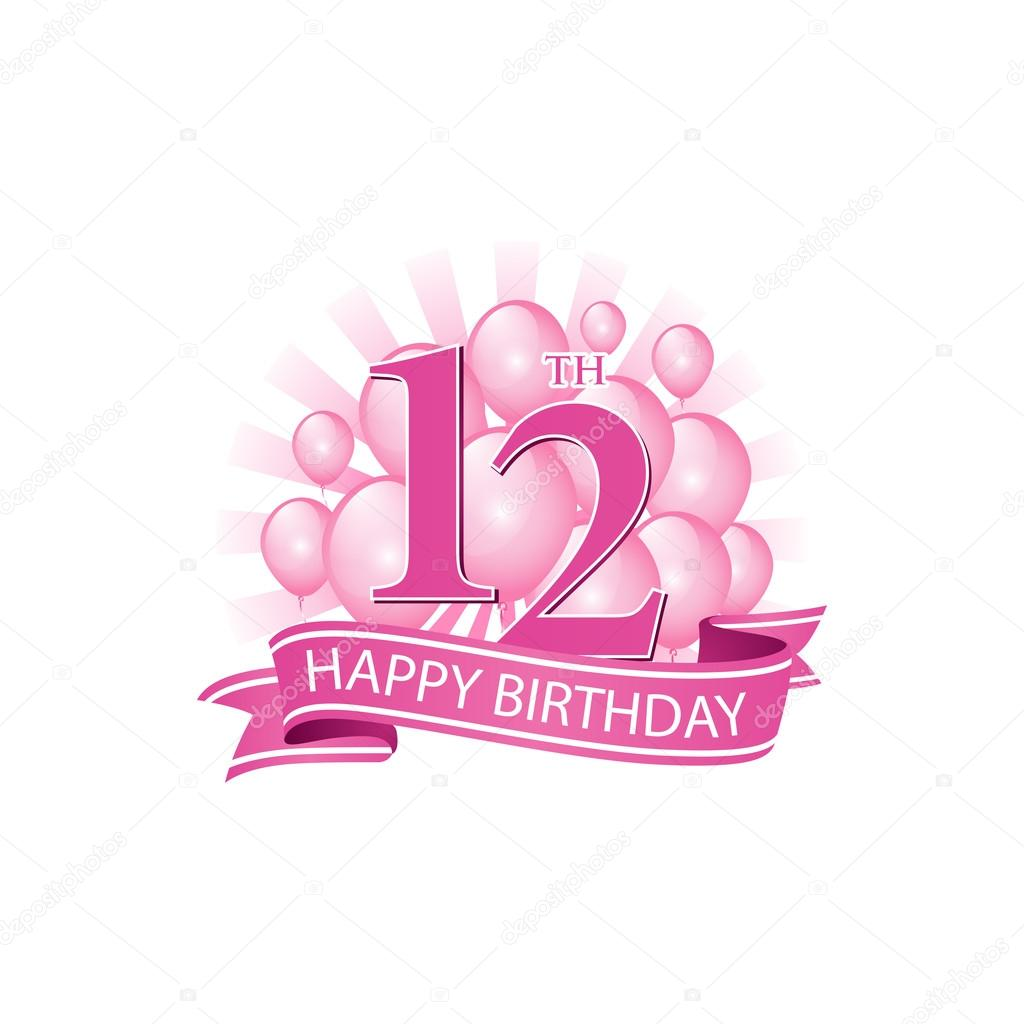 12th Happy Birthday Event Logo Template