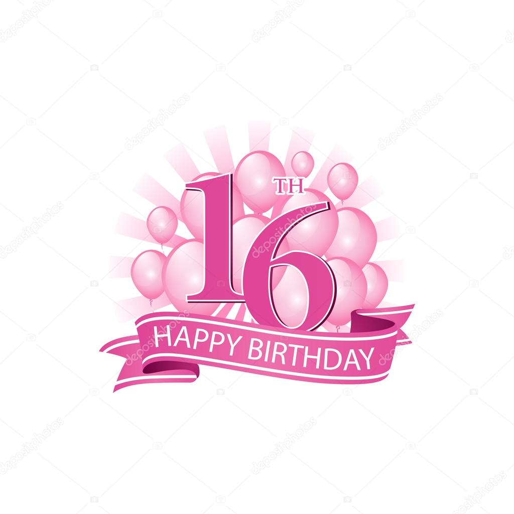 16th Pink Happy Birthday Logo With Balloons And Burst Of