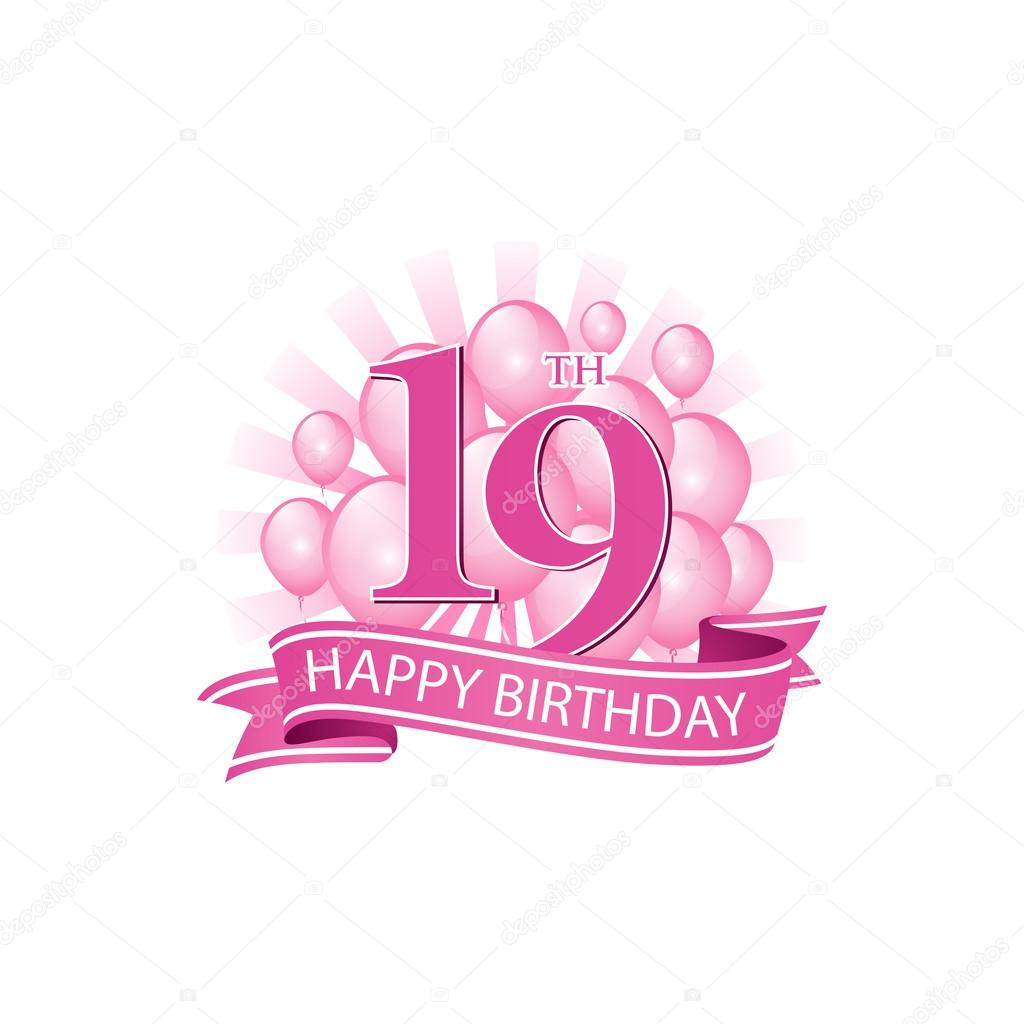 19th Happy Birthday Event Logo Template Vector By Ariefpro