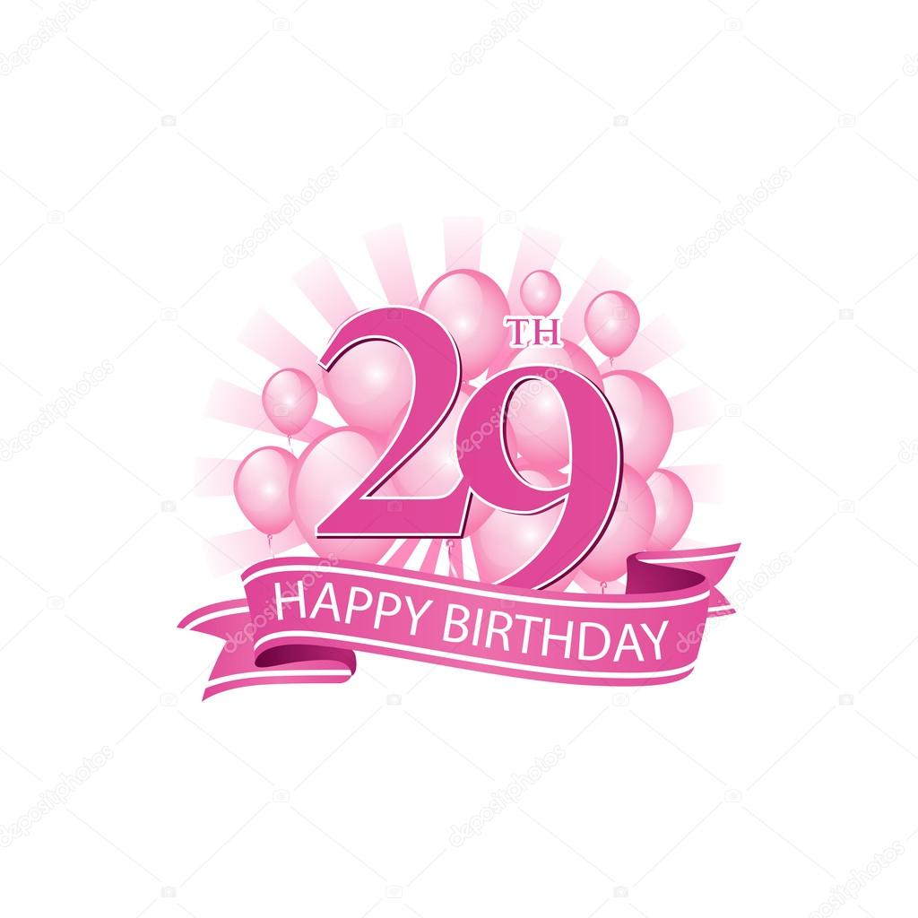 29th Pink Happy Birthday Logo With Balloons And Burst Of