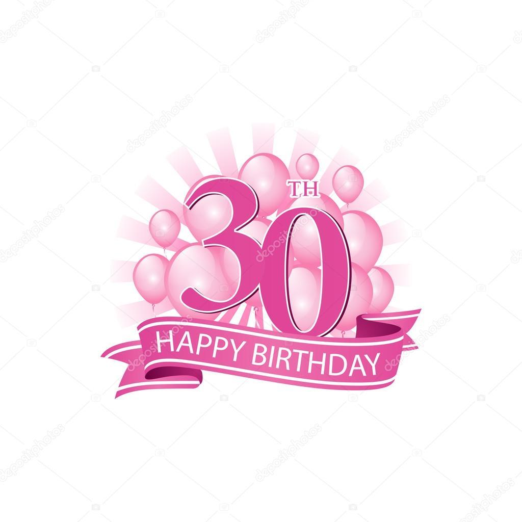 30 Rosa Alles Gute Zum Geburtstag Logo Mit Luftballons Und