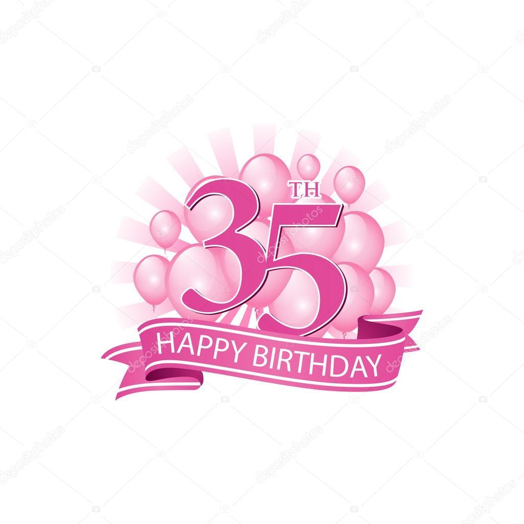 35e Roze Gelukkige Verjaardag Logo Met Ballonnen En Uitbarsting Van