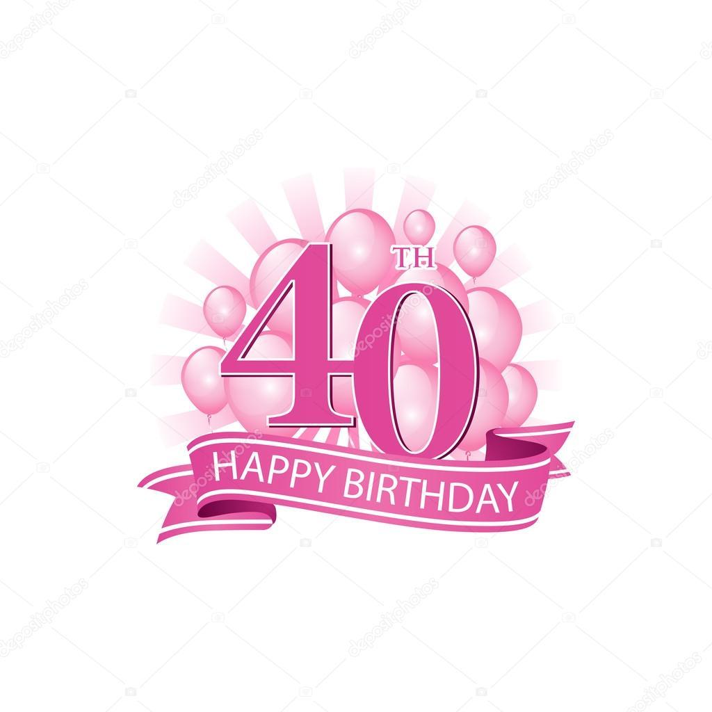 grattis på 40 40: e rosa Grattis logotyp med ballonger och explosion av ljus  grattis på 40