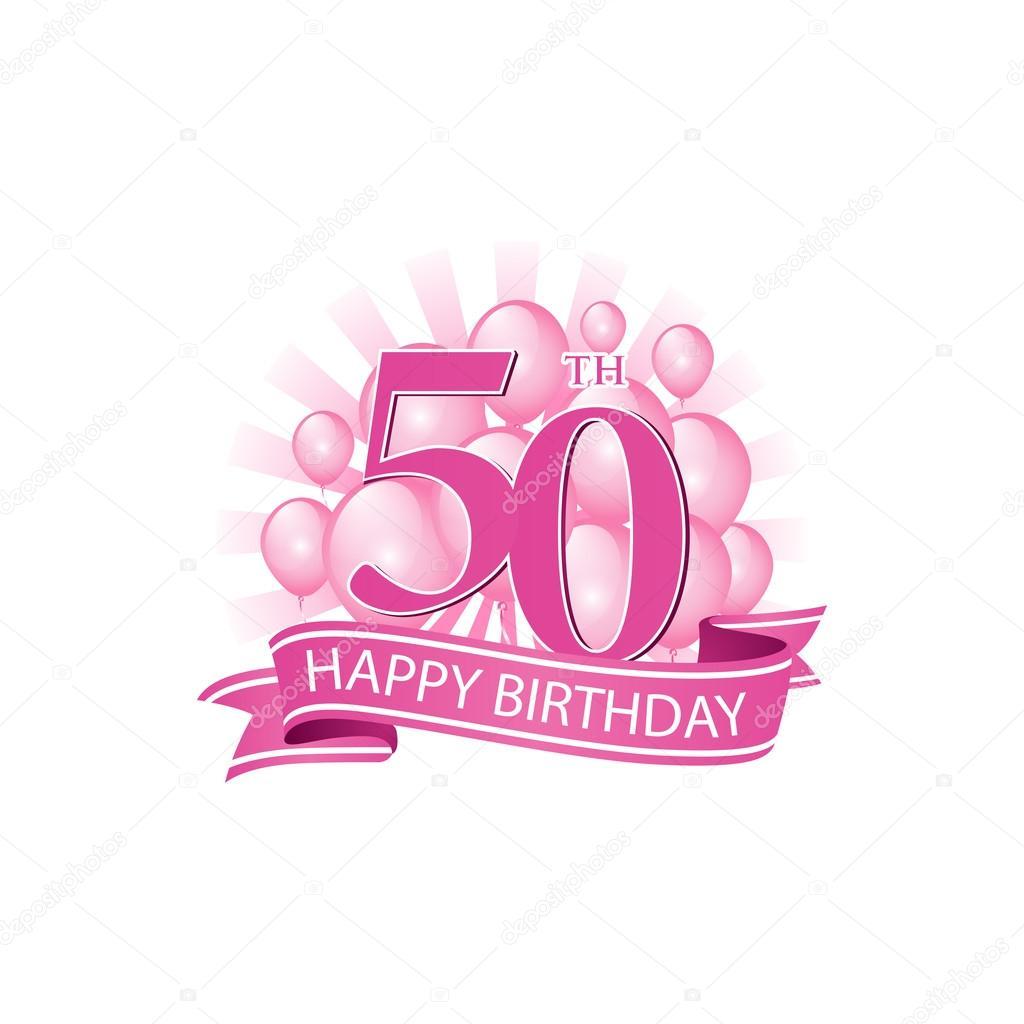 50th happy birthday event logo template.