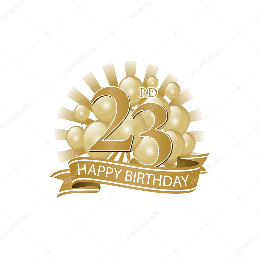 23rd Golden Happy Birthday Logo With Balloons And Burst Of Light Stock Illustration