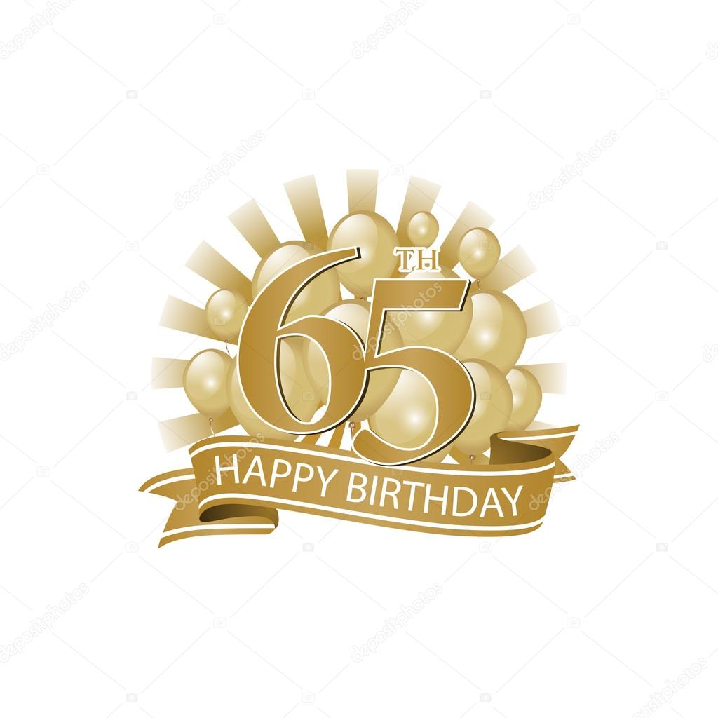 65th Golden Happy Birthday Logo With Balloons And Burst Of Light Stock Vector