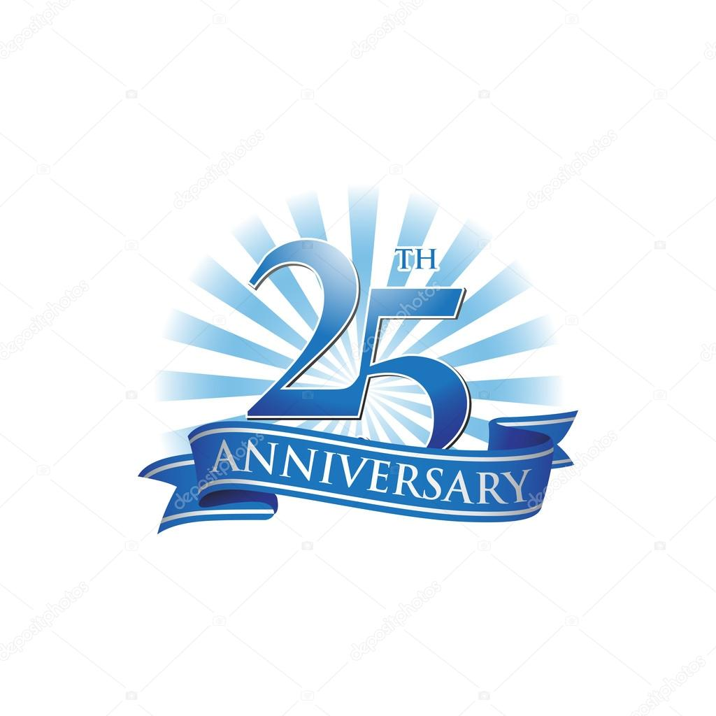 25th anniversary ribbon logo with blue rays of light Silver 25th Pastoral Anniversary Silver 25th Anniversary Ribbons