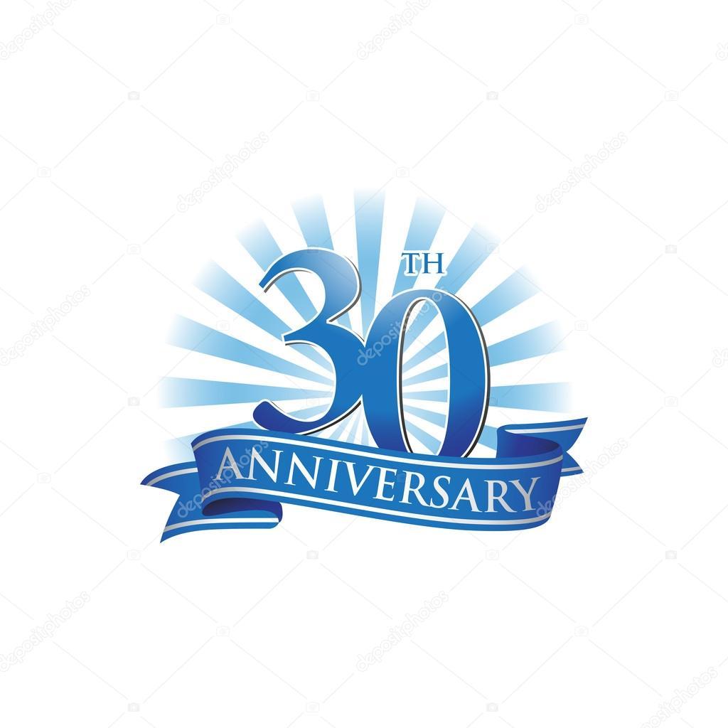 30e Verjaardag Lint Logo Met Blauwe Stralen Van Het Licht