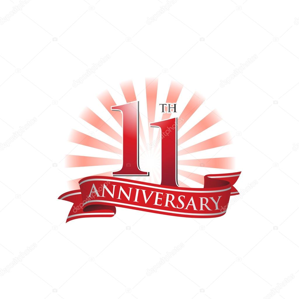 11th anniversary ribbon logo with red rays of light stock vector