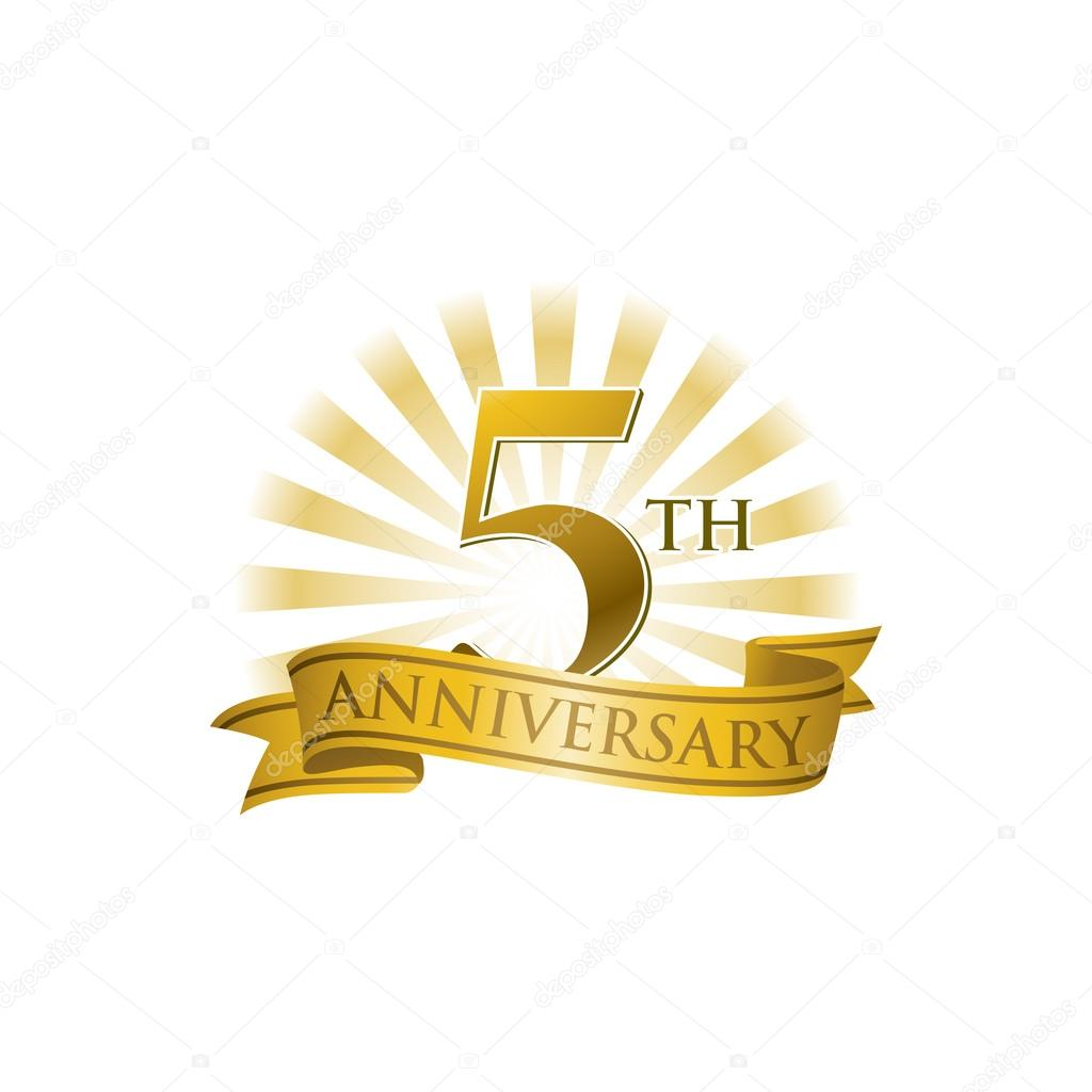 5th Year Anniversary: 5th Anniversary Ribbon Logo With Golden Rays Of Light