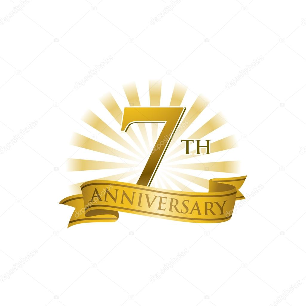 7th anniversary ribbon logo with golden rays of light stock vector