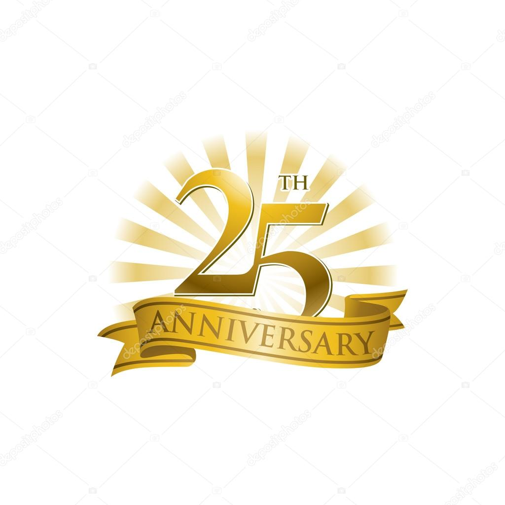 25th anniversary ribbon logo with golden rays of light stock rh depositphotos com 25th Business Anniversary Postcard Silver 25th Pastoral Anniversary