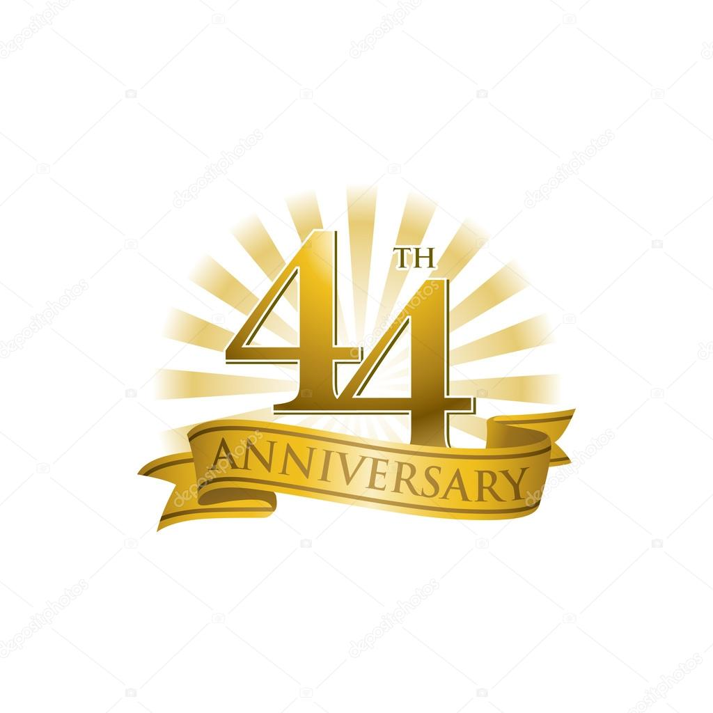 44th anniversary ribbon logo with golden rays of light stock 44th anniversary logo template vector by ariefpro biocorpaavc Gallery