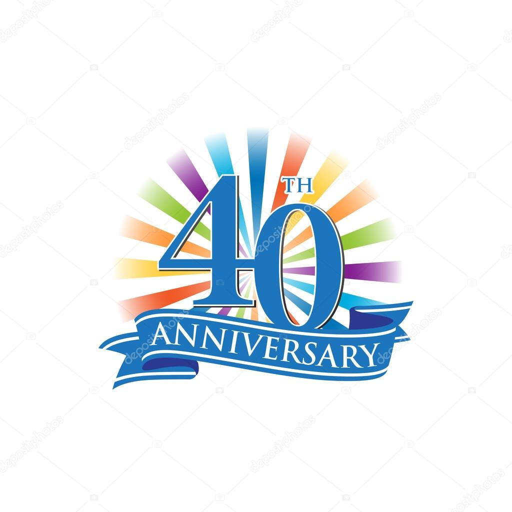 40th Anniversary Ribbon Logo With Colorful Rays Of Light Stock