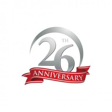 26th anniversary ring logo red ribbon