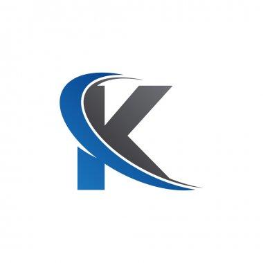 Initial letter K swoosh blue logo