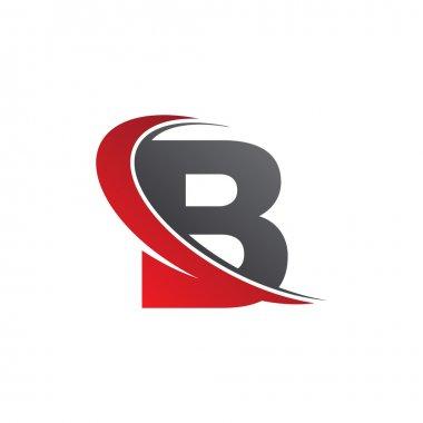 Initial letter B swoosh red logo