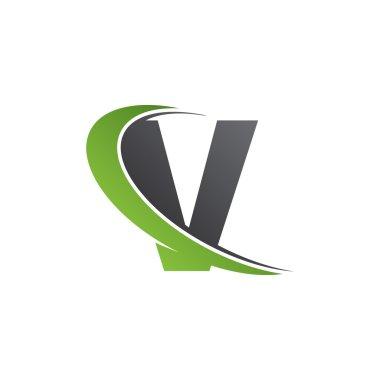 Initial letter V swoosh green logo