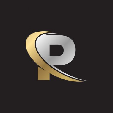 letter P swoosh silver gold logo black background