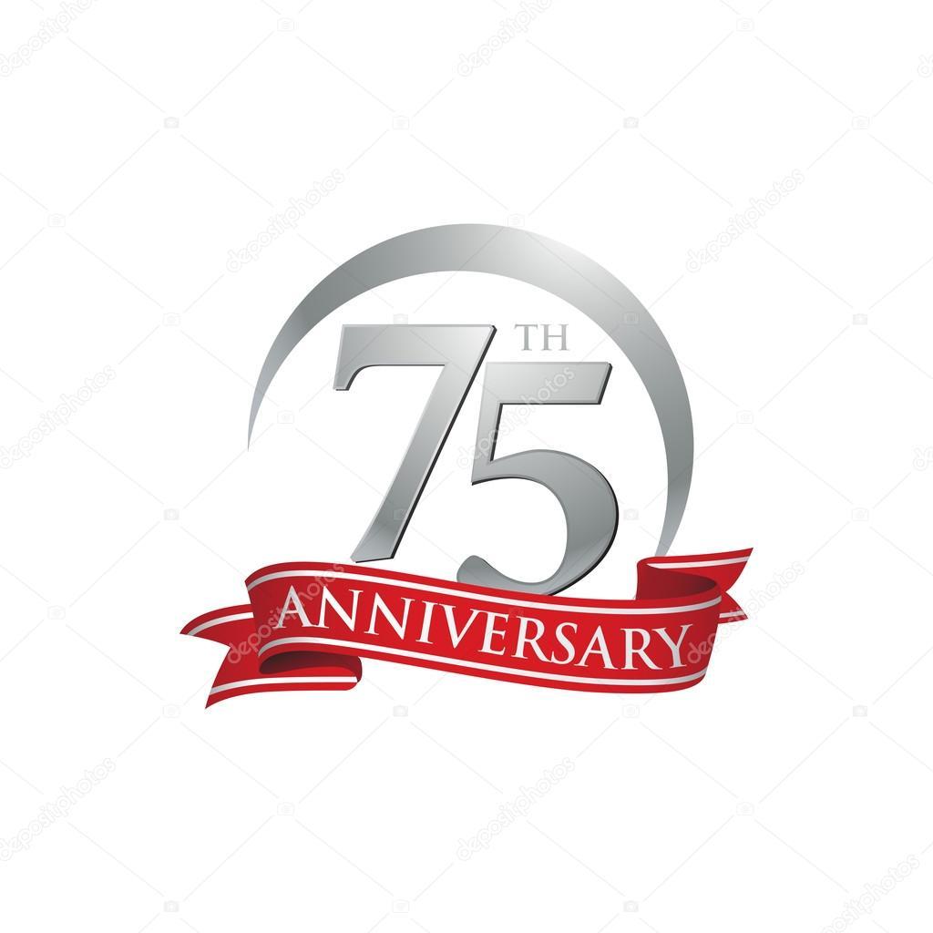 75th Anniversary Ring Logo Red Ribbon Stock Vector Ariefpro