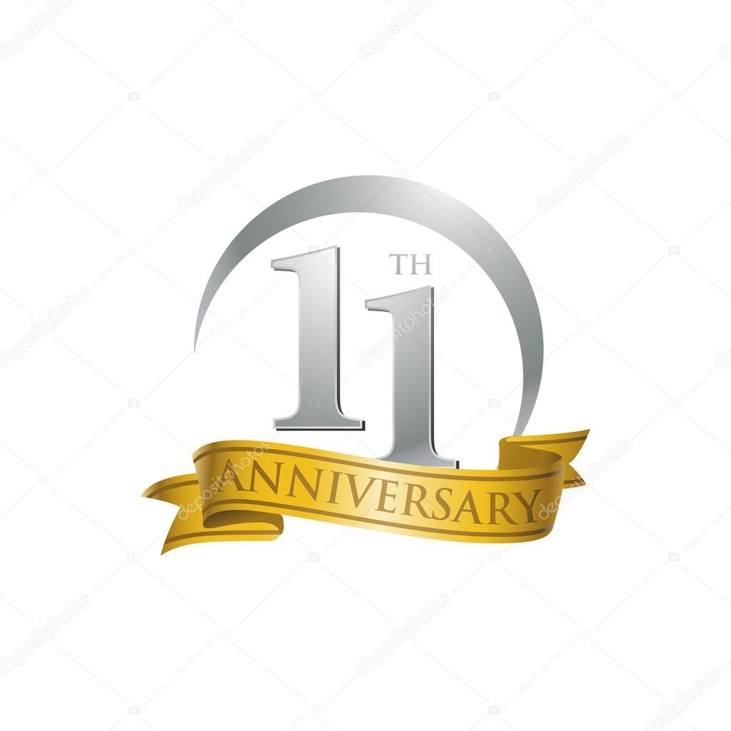11th anniversary ring logo gold ribbon stock vector ariefpro